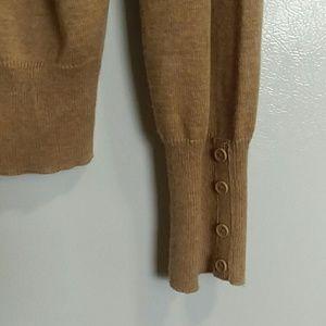 Camel colored 7-button cardigan, wide cuffed wrist